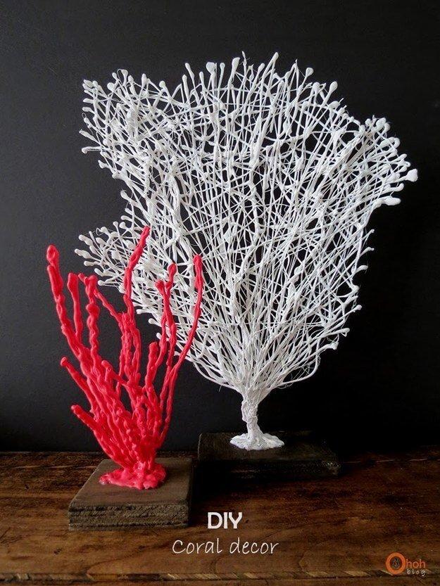 Korallen Deko selber machen aus Klebstoff - Bunte Koralle Wohndeko