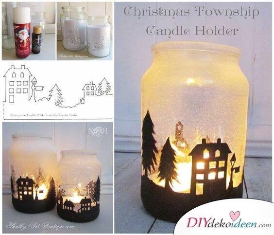 DIY Weihnachtsbeleuchtung mit Kerzenhalter-Kerzenhalter mit Schneespray