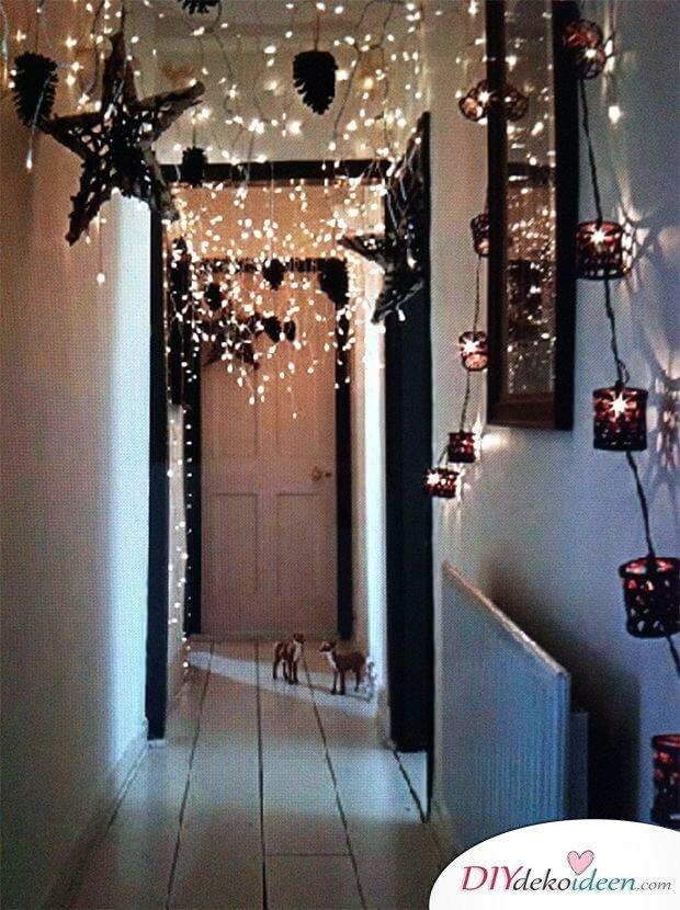 DIY Weihnachtsbeleuchtung im Flur-DIY leuchtende Weihnachtsdeko selber machen