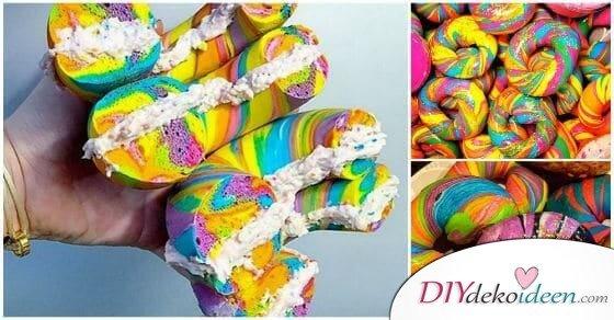 Diese Regenbogen Bageln sind die verrücktesten Nachtische die du je gesehen hast