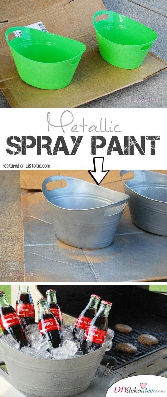 """Coole Farbspray Ideen, mit der du eine Menge Geld sparen kannst - """"galvanisierte"""" Plastik Wannen"""