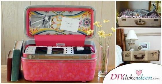 Hier sind 5 unglaubliche ideen dazu wie du aus einem alten koffer etwas einzigartiges zaubern - Alte koffer dekorieren ...