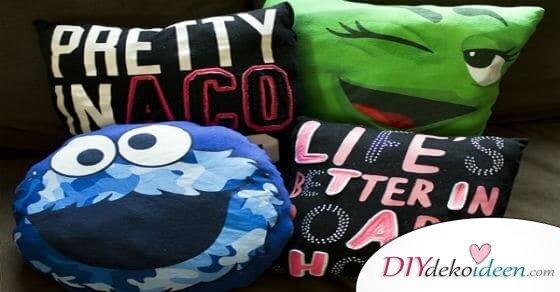 So kannst du aus einem alten T-Shirt ein lustiges DIY Kissen machen
