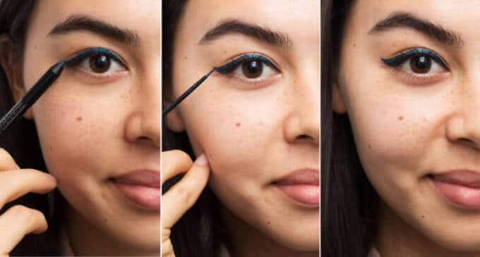 Perfekte Linie mit flüssigem Eyeliner und Kayalstift malen