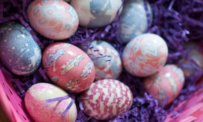 Osterei mit Seide färben - kreative DIY Projekte zu Ostern