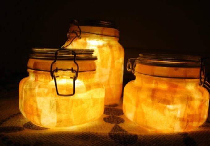 Stimmungslicht mit Kerzengläsern basteln