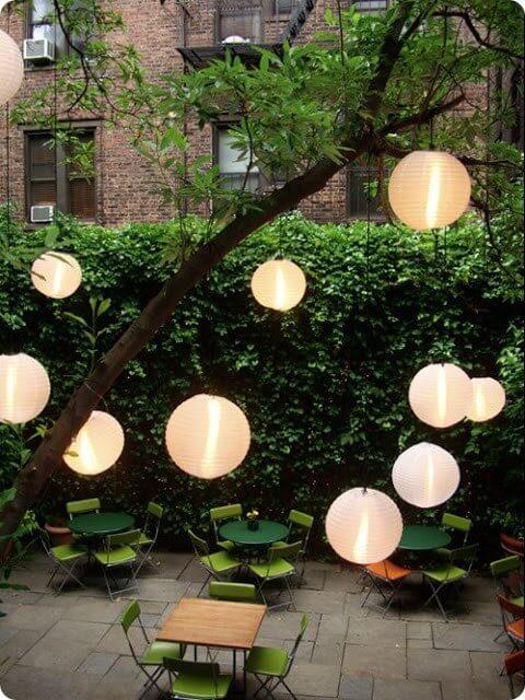 japanische Laternen im Garten - DIY Deko