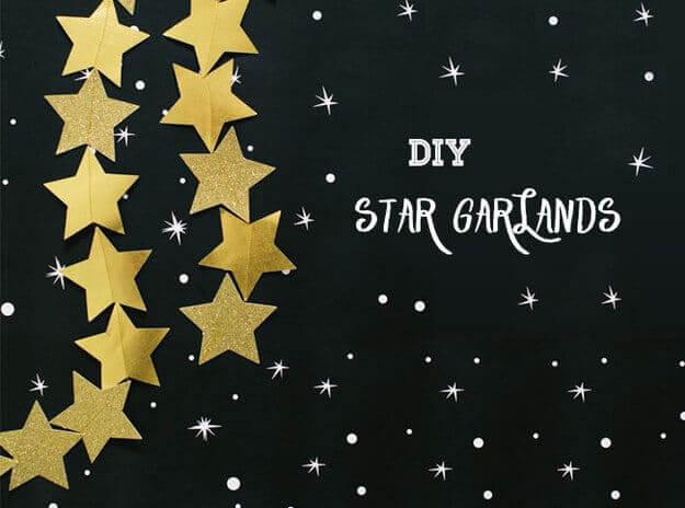 Sternengirlande selber basteln-goldene Wanddeko