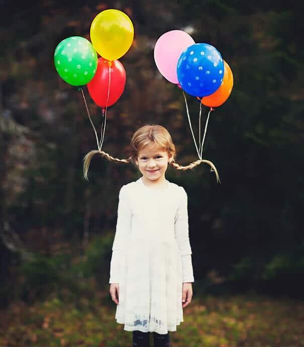 Lustige Frisur - Zöpfe mit Luftballons