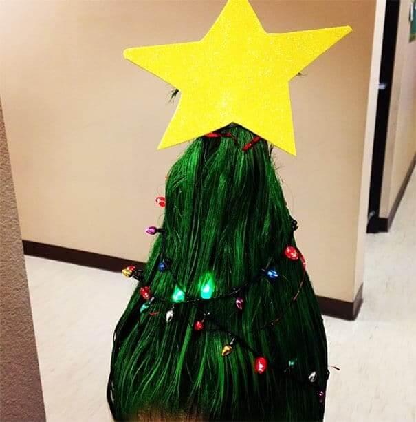 Weihnachtsbaum Frisur - lustige Haartrends zu Weihnachten