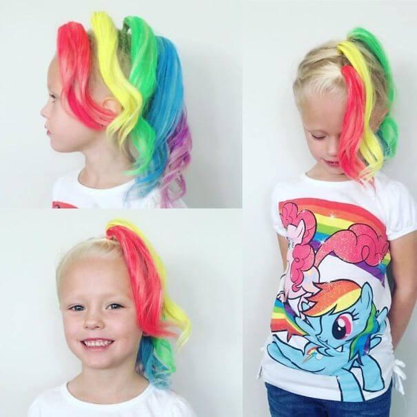 Pony färben mit buntem Haarspray - lustige Frisur für Mädchen