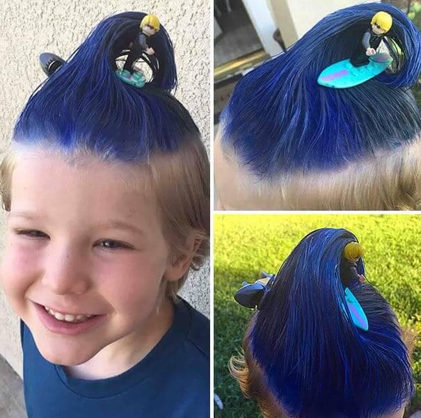 Welle aus Haaren formen - lustige Frisuren für Kinder