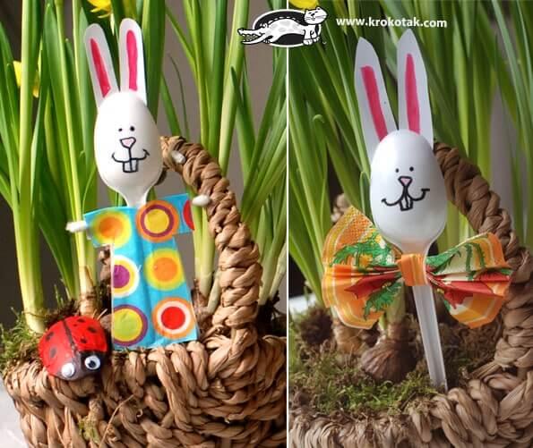 kreative Osterhasen aus Plastiklöffeln - Deko zu Ostern selber machen