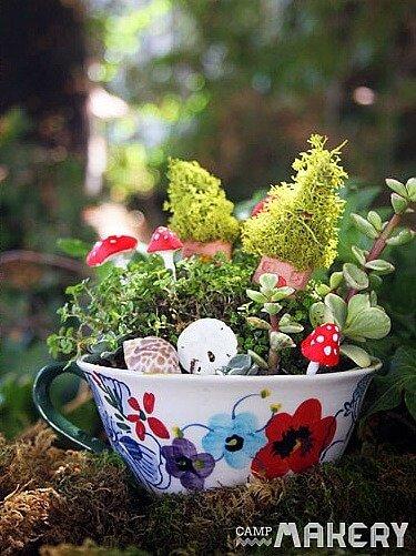 DIY Projekte mit Teetassen - Garten gestalten