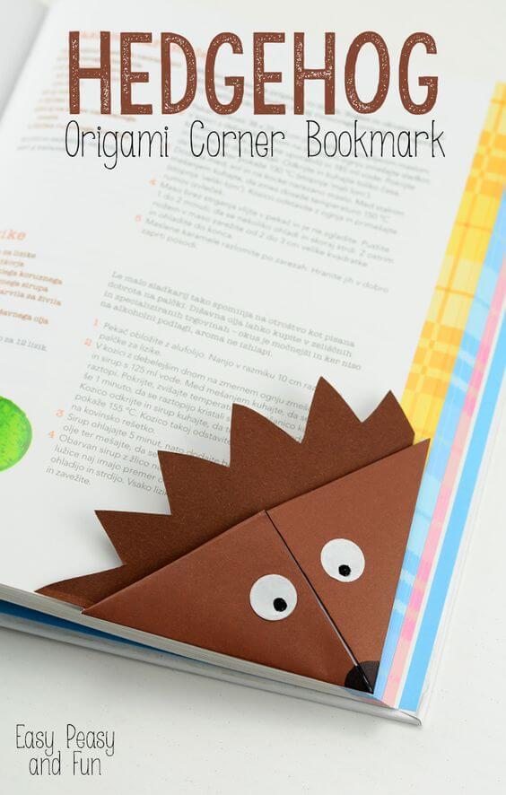 Süßen Igel aus Papier falten - DIY Lesezeichen - Geschenkidee