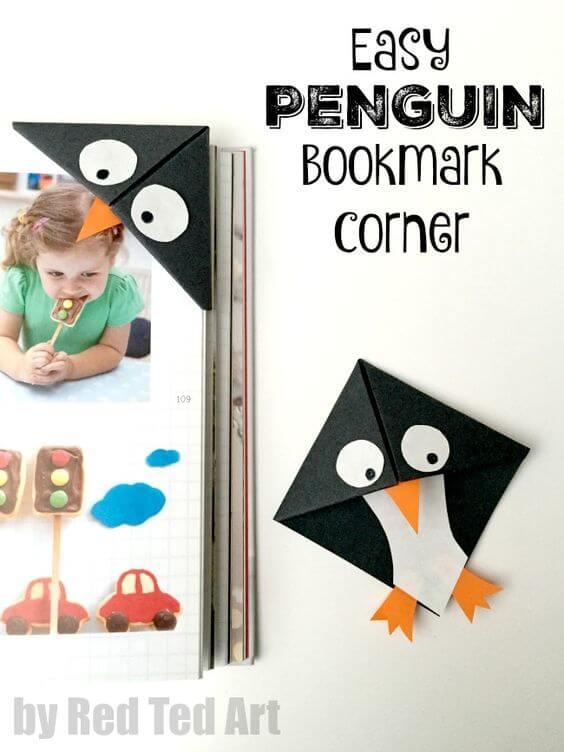 Pinguin Lesezeichen - DIY Bastelideen mit Papier