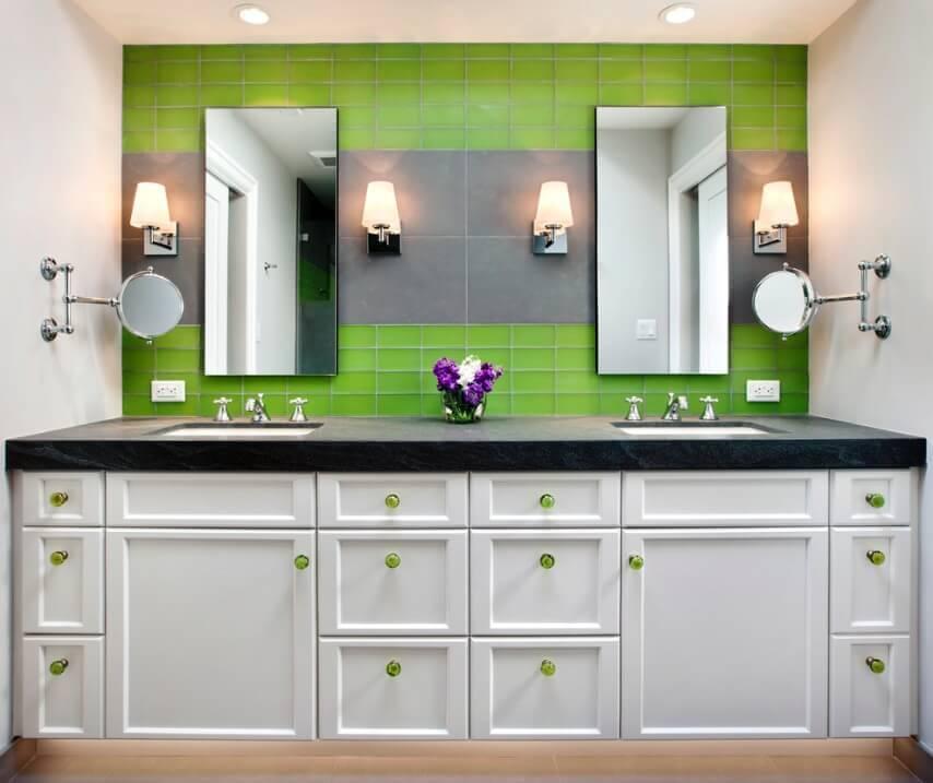 Badezimmer mit grünen Fliesen aufpeppen - modernes Bad
