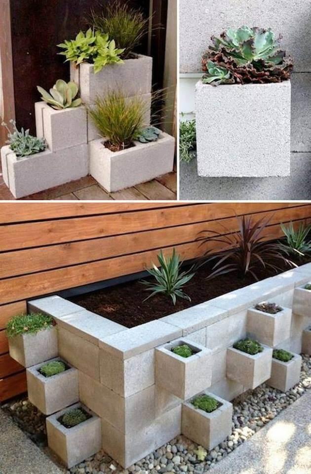Pflanzen in Betonsteinen - Garten Deko aus Beton