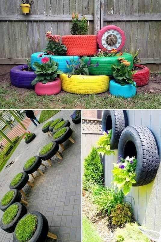 Alte Autoreifen im Garten nutzen - bunte Reifen-Deko