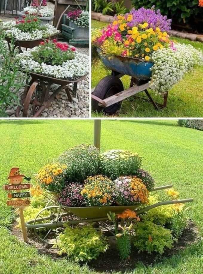 alte Schubkarre als Blumentopf verwenden