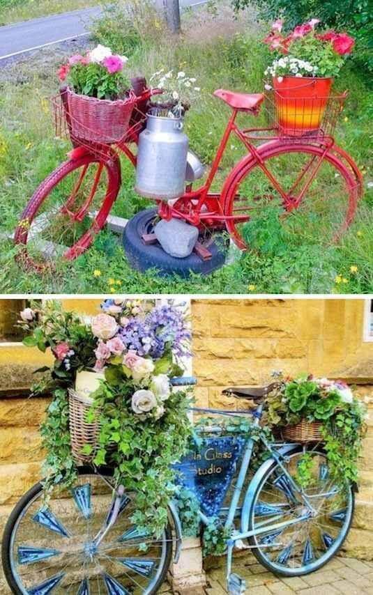 Gartendeko mit Blumen - Fahrrad weiderverwenden