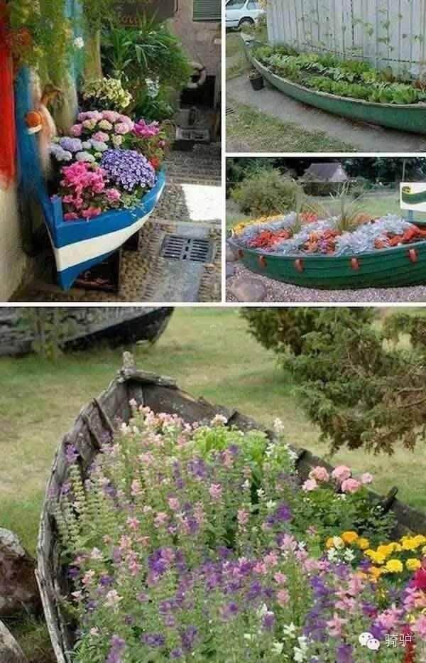 Bumen in ein altes Boot pflanzen - rustikale Gartendeko selber machen