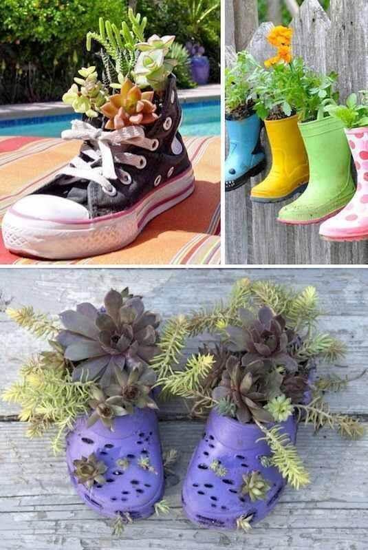 Alte Schuhe als Blumentopf benutzen - DIY Garten-Dekoration