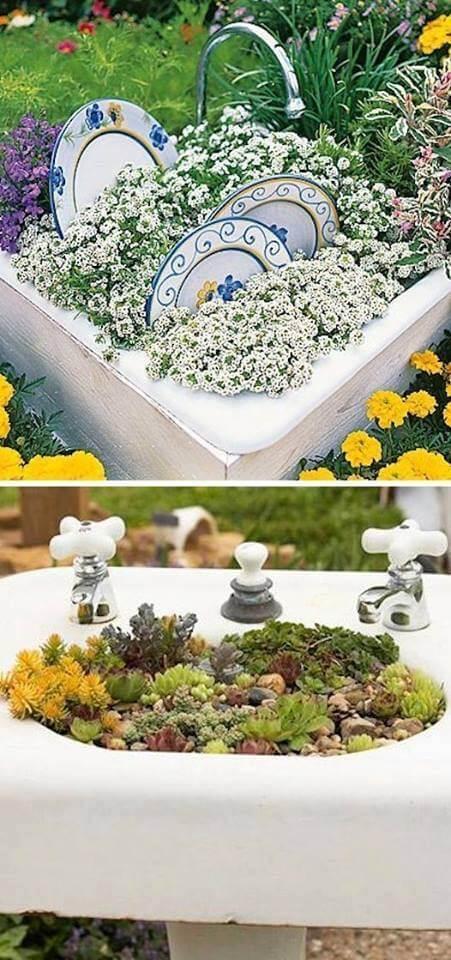 Teller als Gartendeko verwenden
