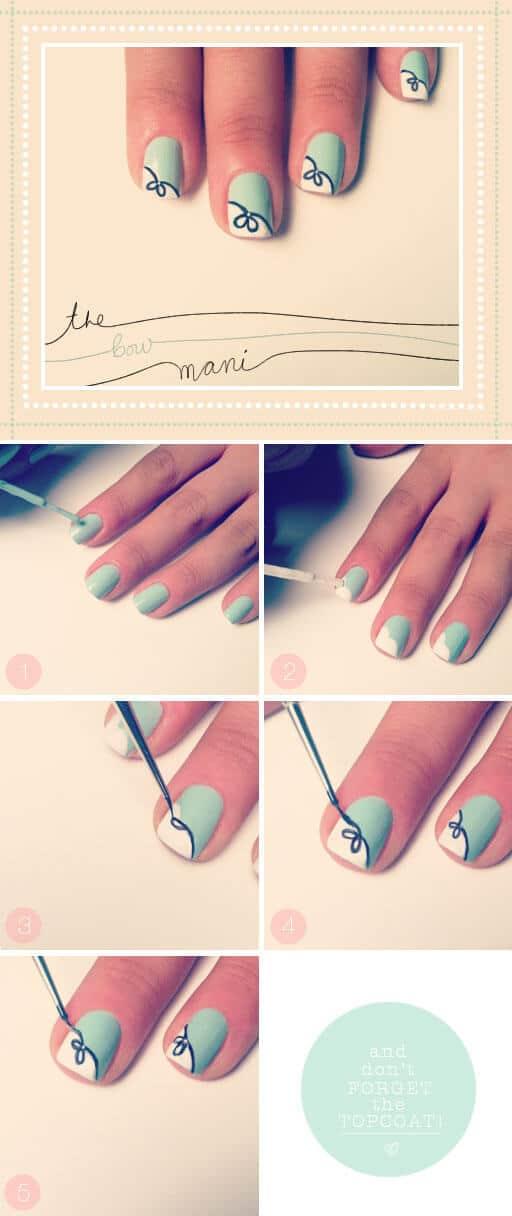 Schöne Nägel selber machen - NailArt mit Schleifen zum selber malen