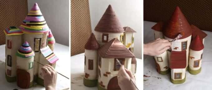 DIY Märchenhaus mit einer beliebigen Farbe bemalen