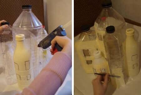 So könnt ihr aus PET Flaschen ein hübsches Märchenhaus basteln