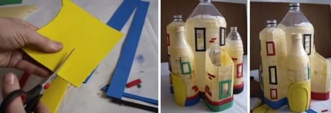 Mit Papierstreifen Fenster kleben - DIY Schloss