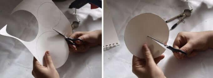 Bastelideen mit leeren Flaschen - Kreisform aus Papier schneiden