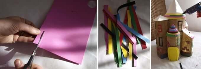 Bunte Papierstreifen schneiden - DIY Bastelideen