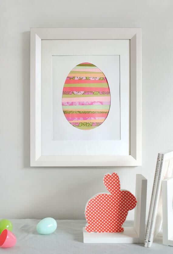 Modernes Bild mit Ostereiern-Geschenkidee zum Basteln mit Kindern