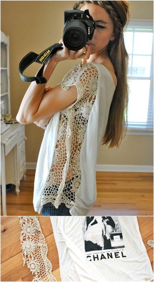Einfaches T-Shirt mit Spitze verzieren-Spitze in ein T-Shirt nähen