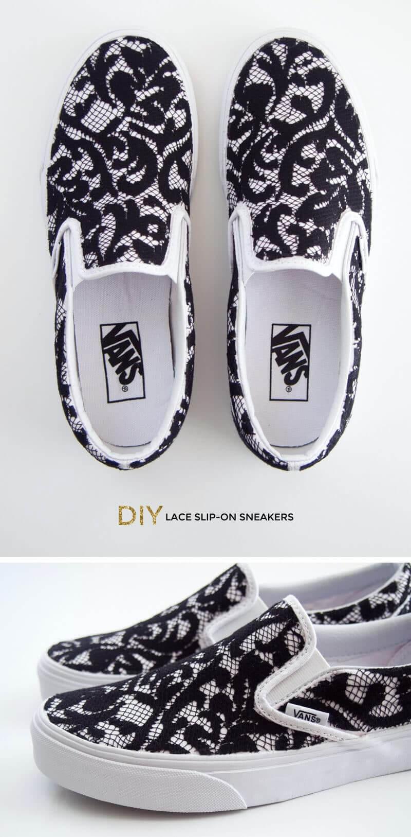 Sneakers mit Spitze versehen - DIY Designerschuhe