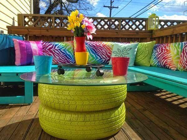 Gartentisch aus alten Reifen bauen - DIY Ideen
