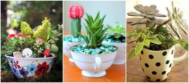 Mini Garten Bastelidee - Tassen wiederverwenden