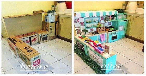 So kannst du eine Mini Kartonpapier Küche für deine kleine Tochter basteln