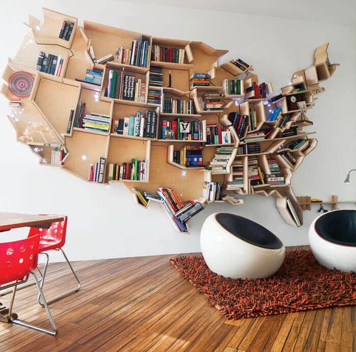 Bücherregal kreativ gestalten - US Staaten DIY Regal