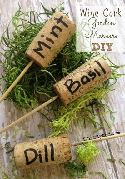 Weinkorken für die Gartendeko nutzen - Gewürze markieren