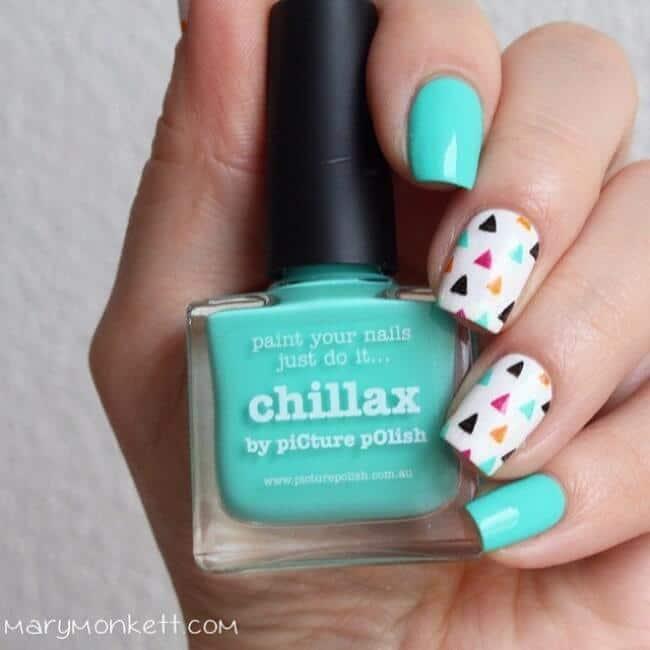 Pfefferminz-Grüne Maniküre-Modische Nägel für den Sommer