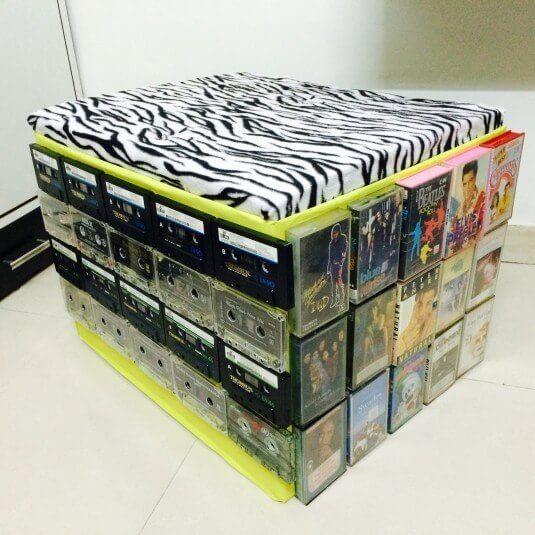 Hocker für Music-Fans basteln - DIY Bastelideen mit Kassetten