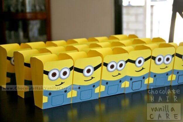 Popcorntüten als Minions gestalten - DIY Party-Deko