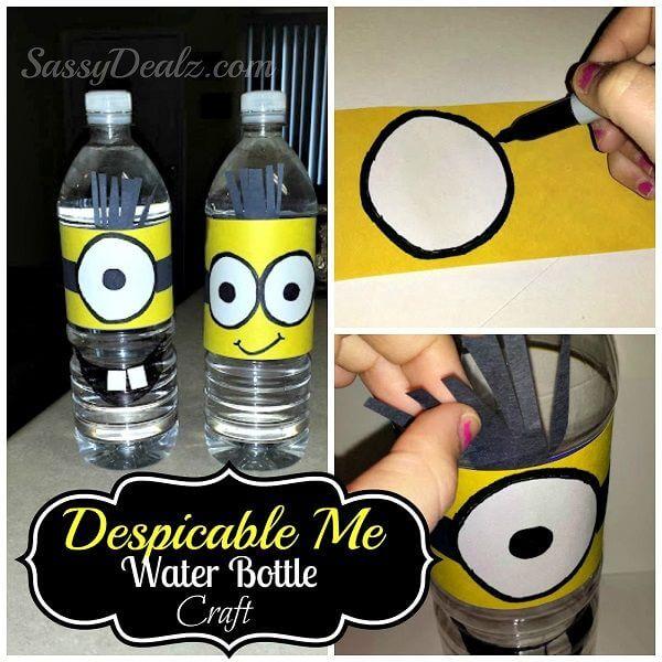 Wasserflaschen aufpeppen mit Minion-Muster