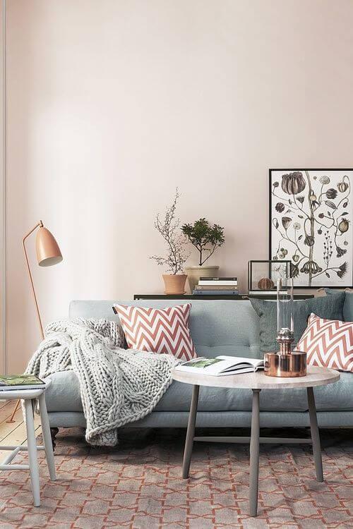 Chevron Muster und Pastellfarben Wohndesign