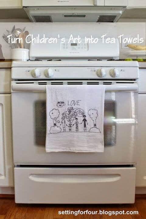Geschirrtuch mit Kinderbildern - lustige DIY Geschenke