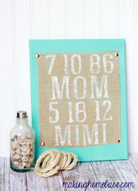 Muttertag Geschenkideen - Sackleinen bemalen