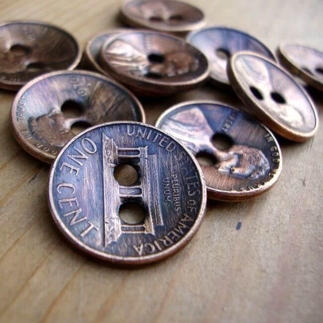 Knöpfe aus Münzen basteln - DIY Bastelideen